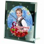 Часовник със снимка - стъклен 20х20