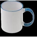 Чаша със син кант и дръжка 300 мл.
